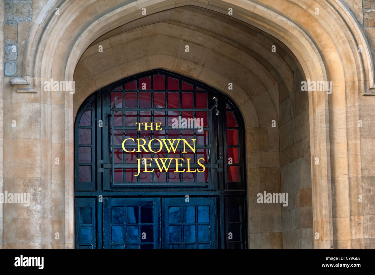 The Crown Jewels sign at the entrance to the Jewel House Tower of London London EC3 UK - Stock Image
