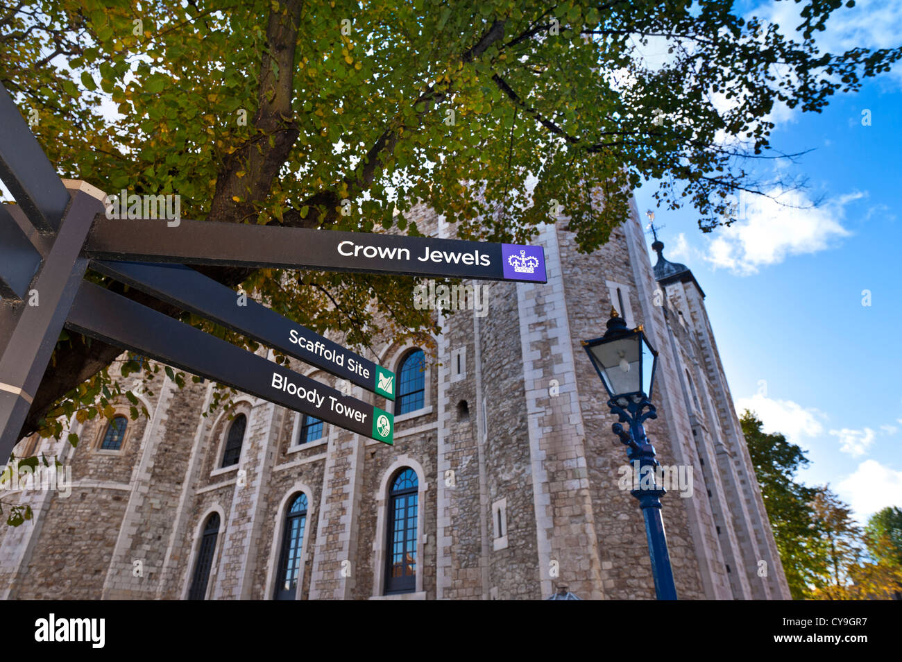 Sign post at Tower of London directing visitors to points of interest White Tower  building behind London UK - Stock Image