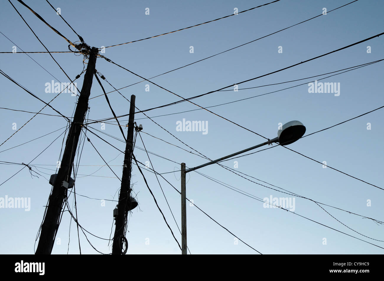 electric cables obsolete silhouette ELECTRICITY  power - Stock Image