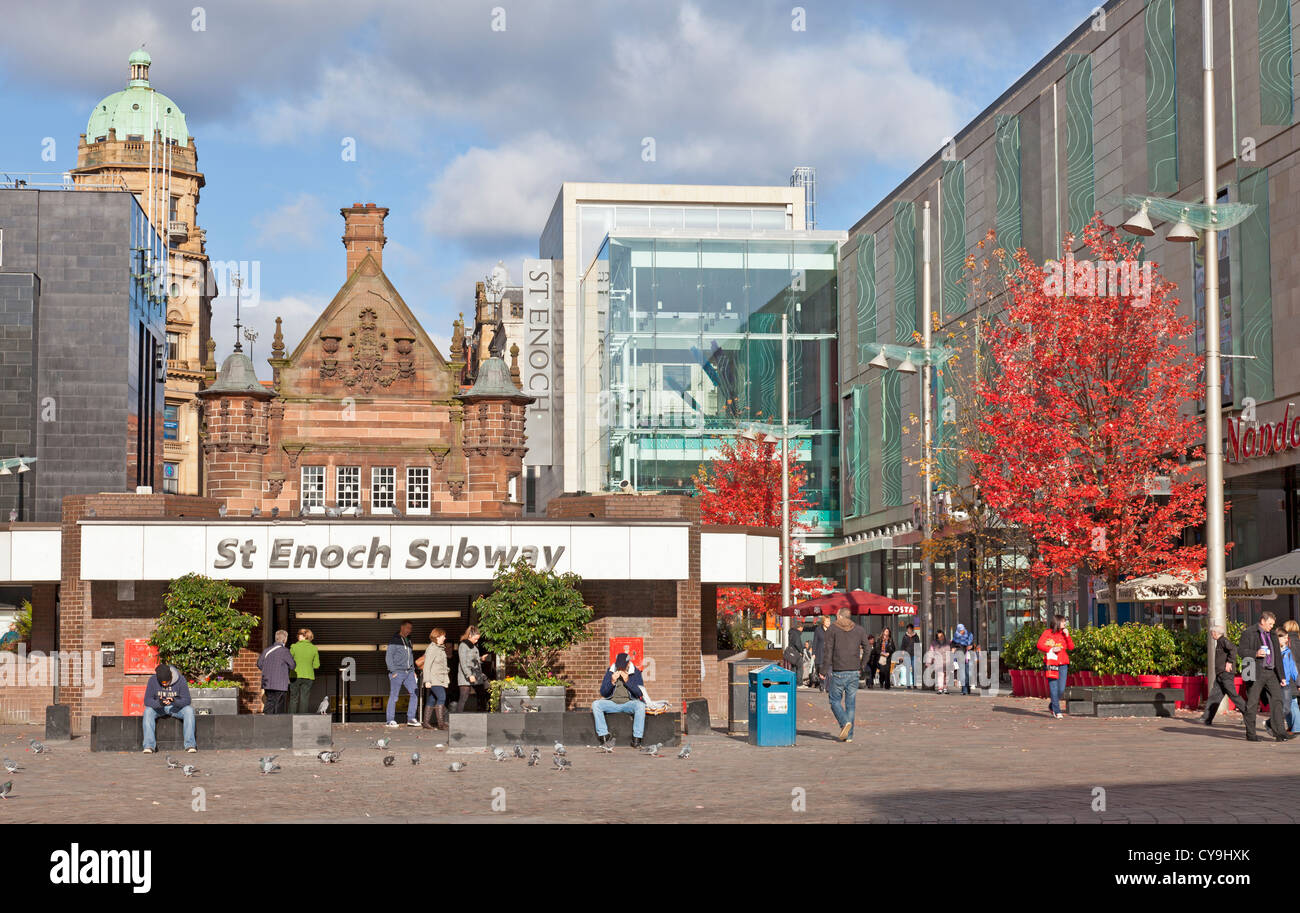 Entrance to St Enoch Subway, an underground station in central Glasgow. - Stock Image