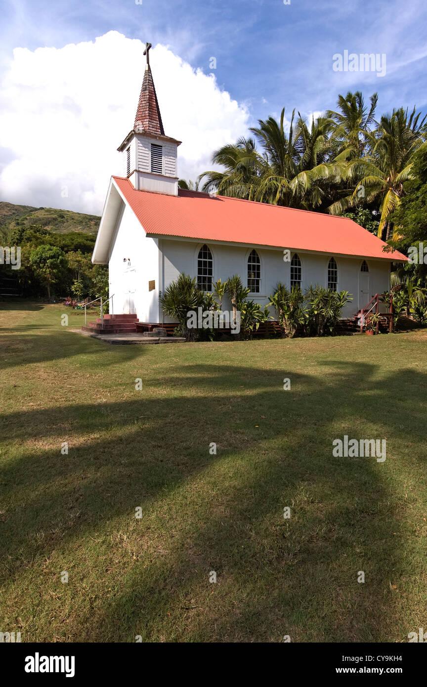 Elk284-6129v Hawaii, Molokai, East Molokai, Kaluaaha, Our Lady of Seven Sorrows Church 1874 Stock Photo