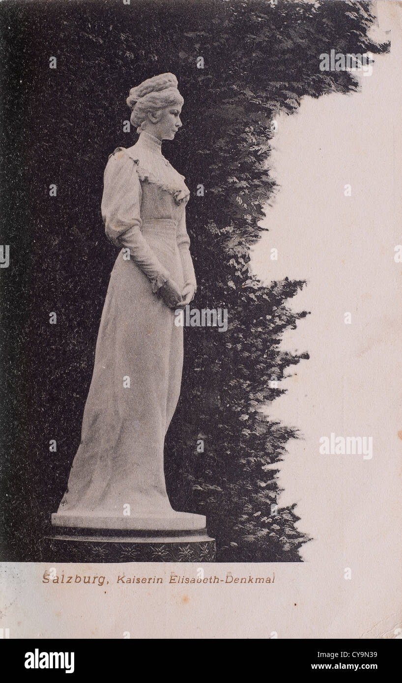 the statue of princess Elizabeth of Austria  in an old postcard - Stock Image