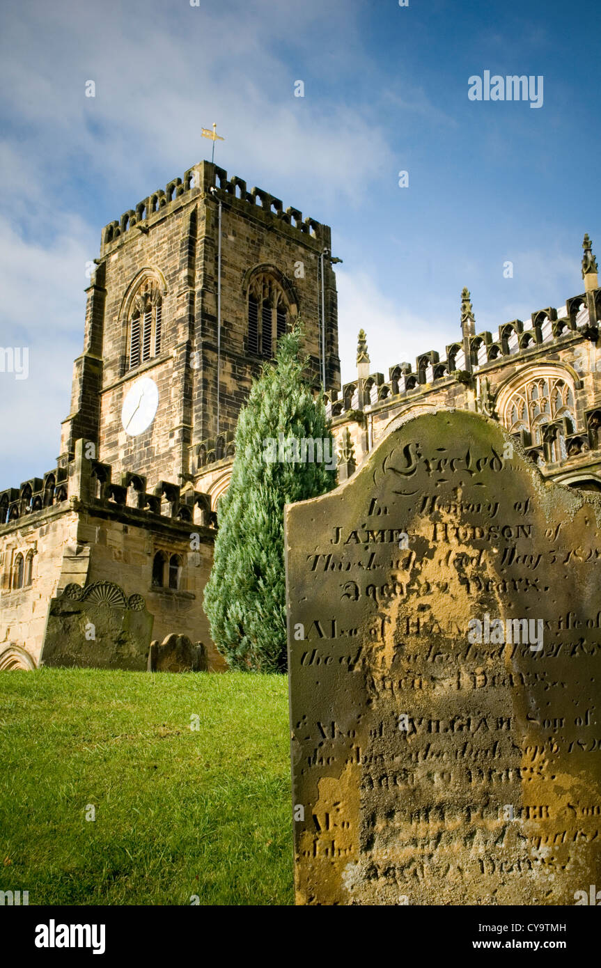 spooky graveyard stone grave graves graveyards church zombie zombies stones death burial funeral churches gravestone - Stock Image