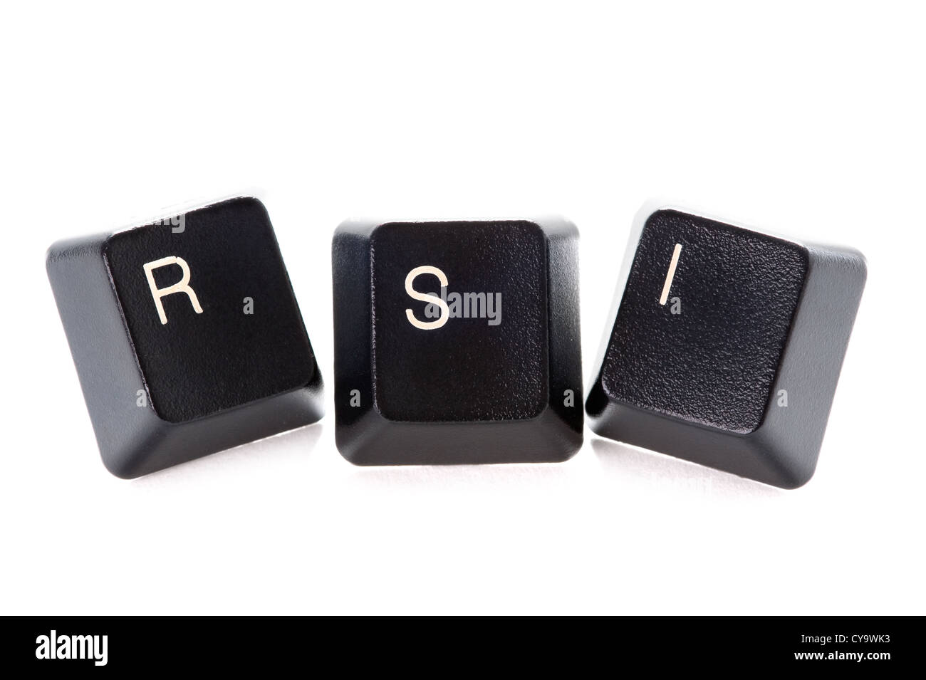 computer letters spelling rsi represents repetitive strain injury - Stock Image