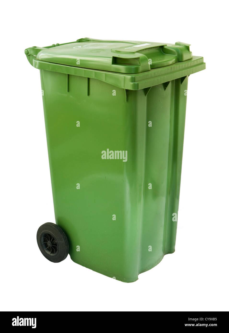 Green wheelie bin. - Stock Image