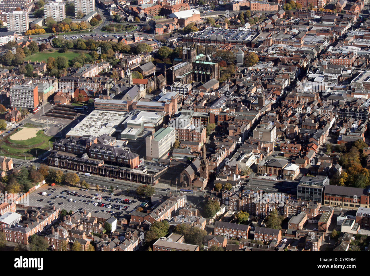 aerial view of Chester city centre - Stock Image