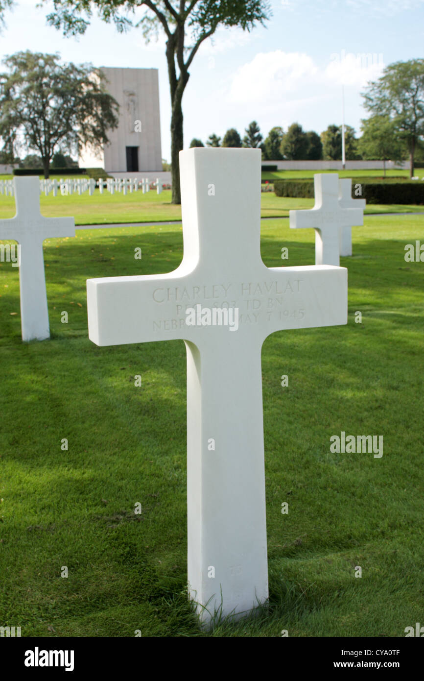 Grave of Private First Class Charley Havlat the last allied combat fatality in the European Theatre during ww2 - Stock Image