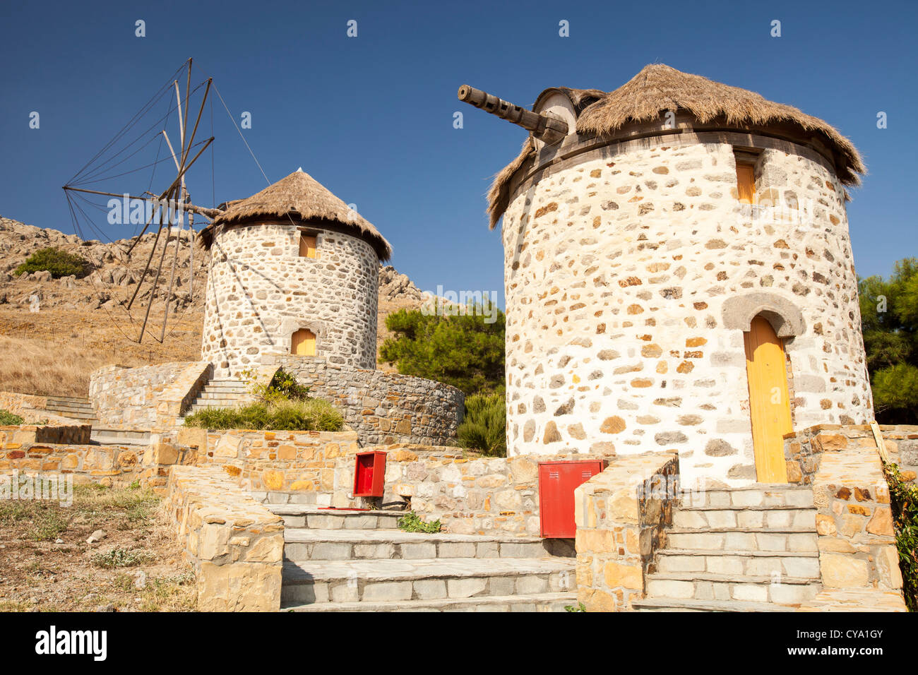 Old traditional Greek cloth sailed windmills in Kontias on Lemnos, Greece. - Stock Image