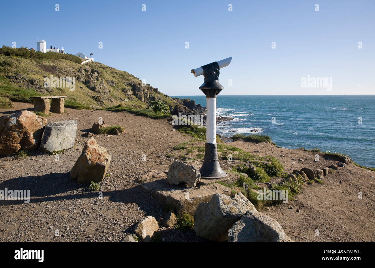 Coastal look-out telescope Lizard Point Cornwall England - Stock Image