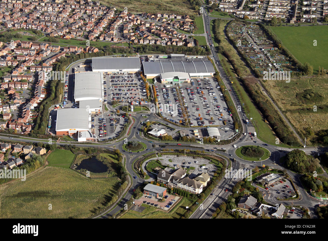 aerial view of Kingswood Retail Park north of Hull - Stock Image