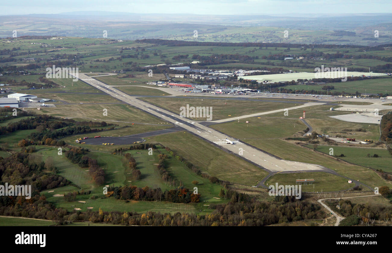 aerial view of Leeds Bradford airport with a Ryanair jet at the end of the runway Stock Photo