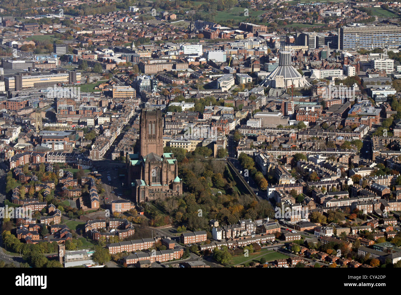 aerial view of Liverpool's two cathedrals, The Anglican and Catholic Metropolitan Cathedral of Christ the King - Stock Image