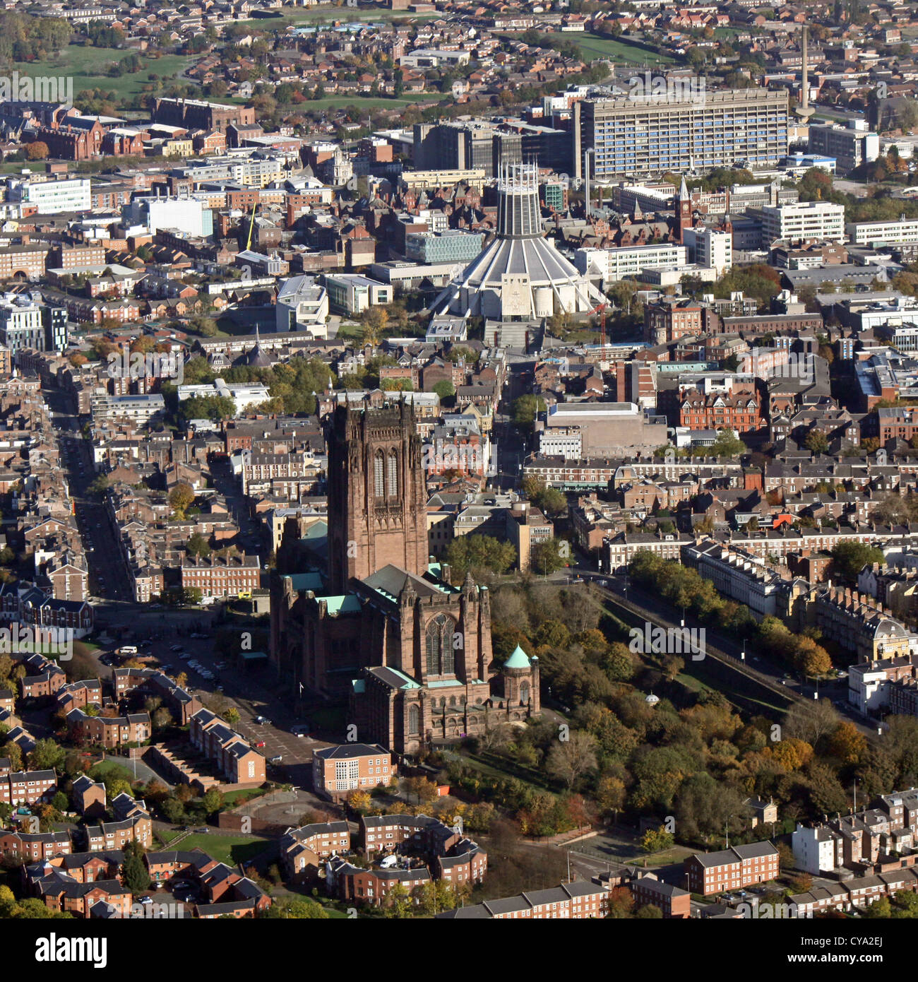 aerial view of Liverpool's two cathedrals, The Anglican and Catholic Metropolitan Cathedral of Christ the King Stock Photo