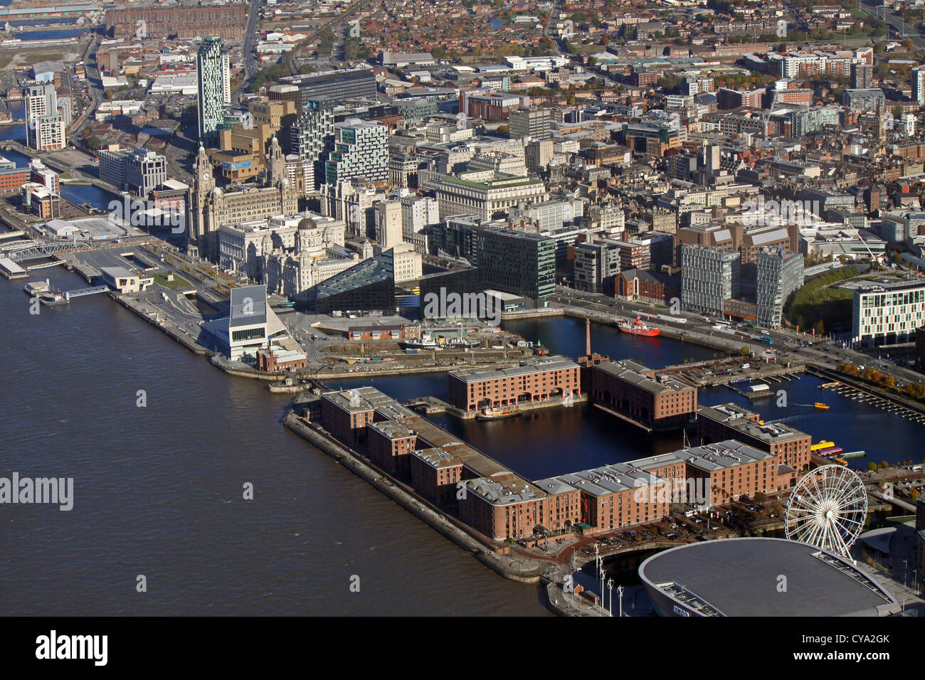 aerial view of Liverpool waterfront and Albert Dock - Stock Image