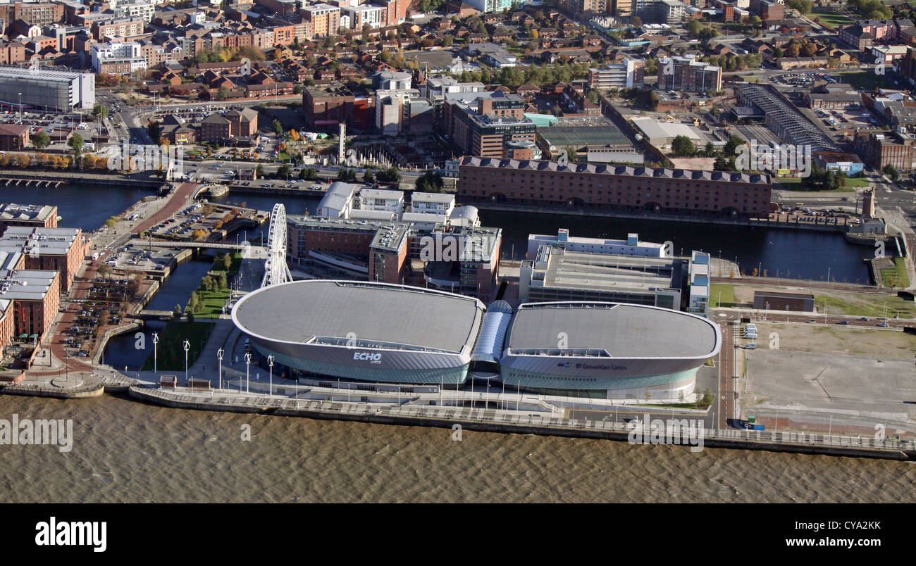 aerial view of the Liverpool Echo Arena on the Mersey, Liverpool - Stock Image
