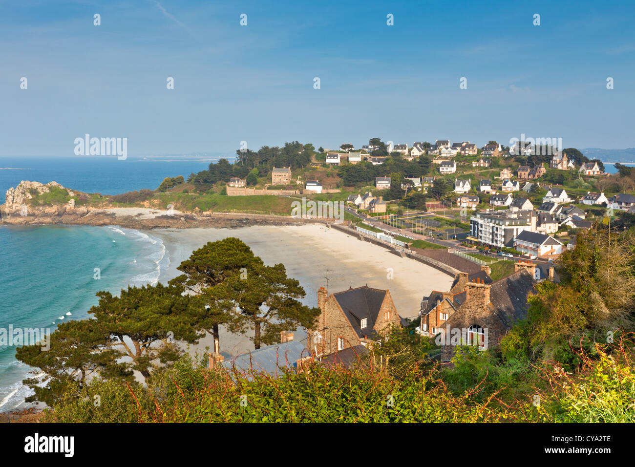Perros-Guirec, small town in Western Brittany, France, aerial view Stock Photo