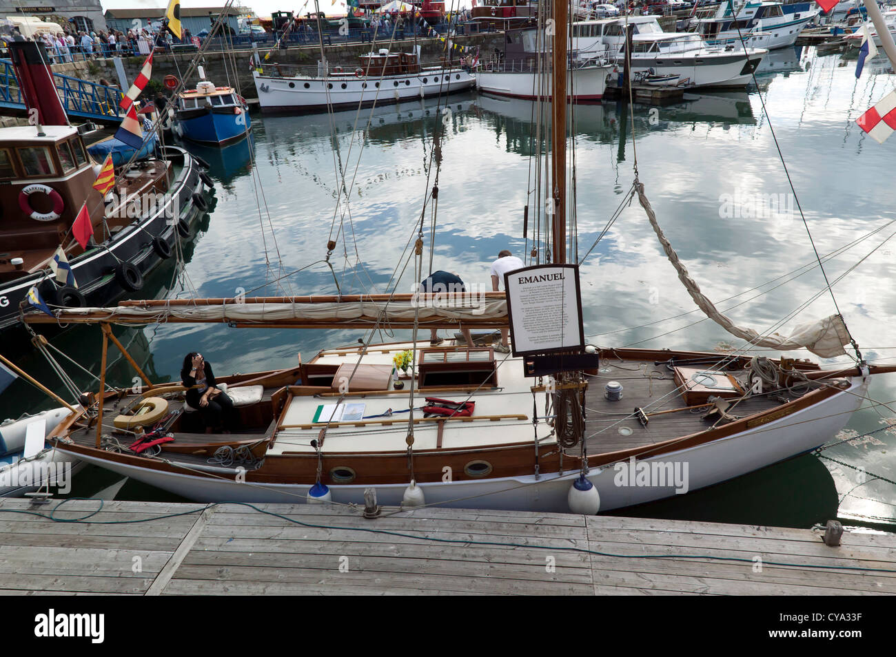 Emanuel, a Gaff Cutter Rigged Yacht, built by Andrew Anderson in 1928. - Stock Image
