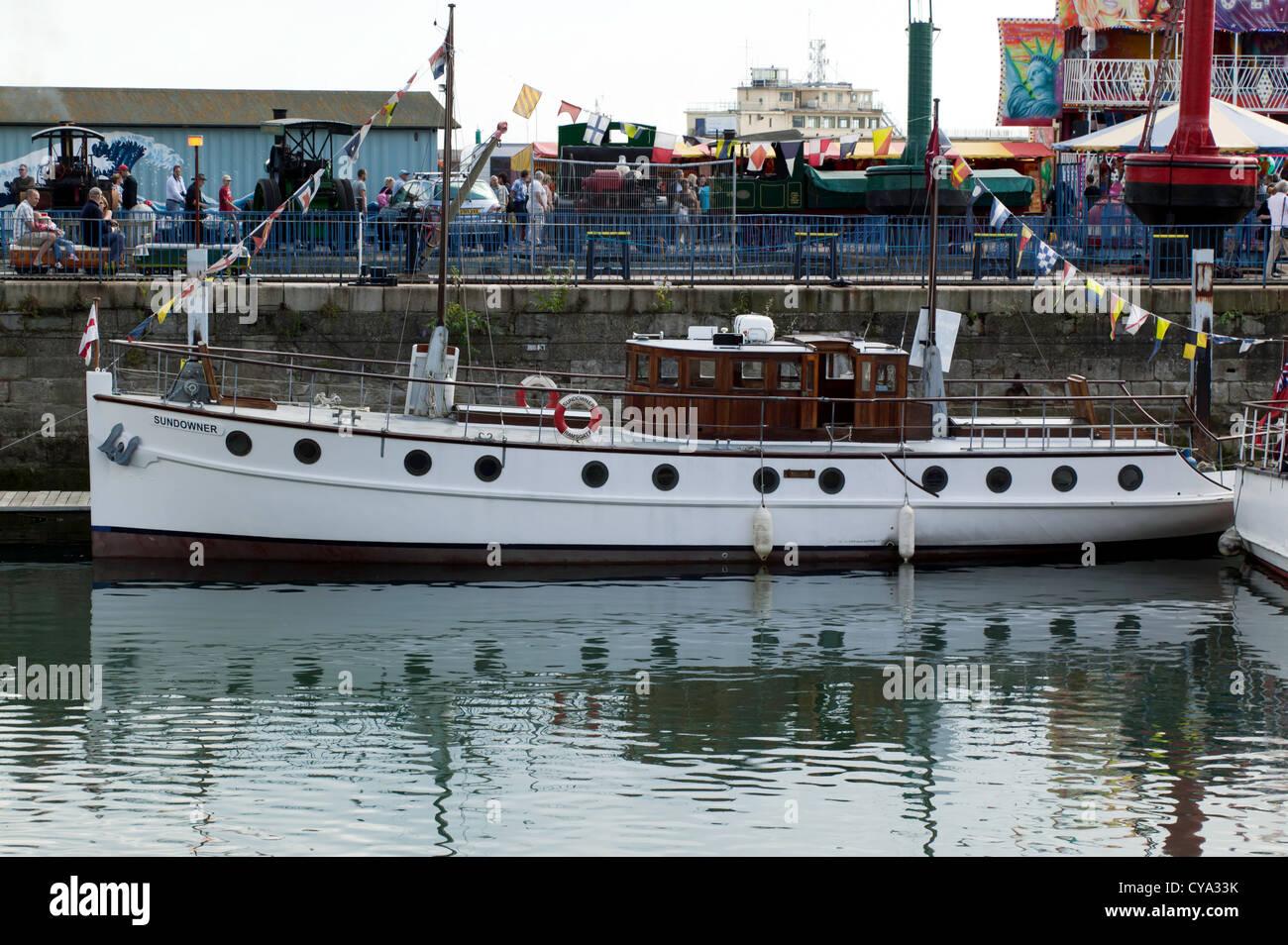 Image of the 'Sundowner', moored up outside the Ramsgate Maritime Museum,  Ramsgate, Kent - Stock Image