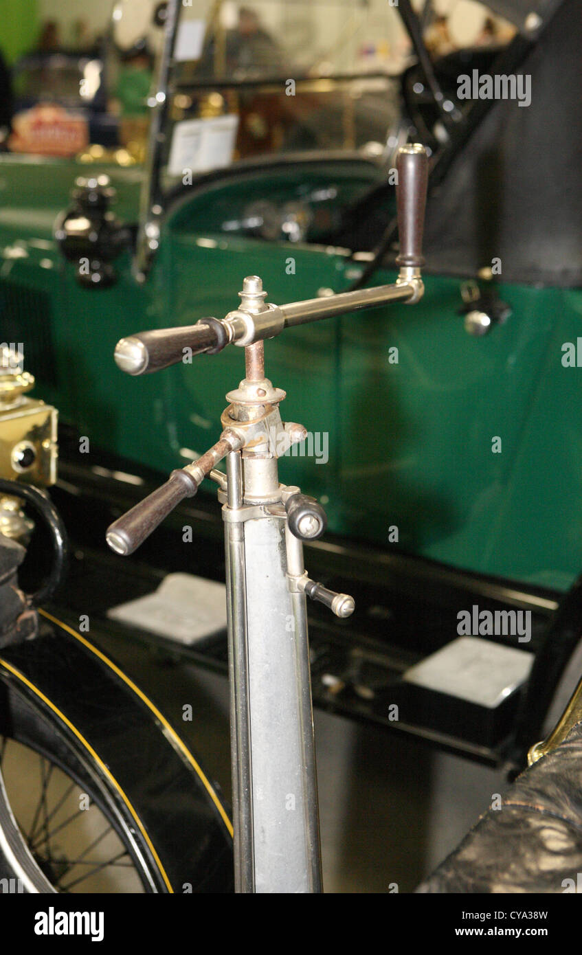 Steering control on 1903 De Dion Bouton motor car - Stock Image