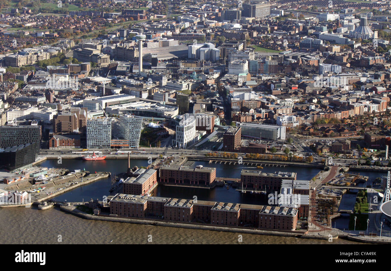 aerial view of Albert Dock Liverpool with city centre - Stock Image