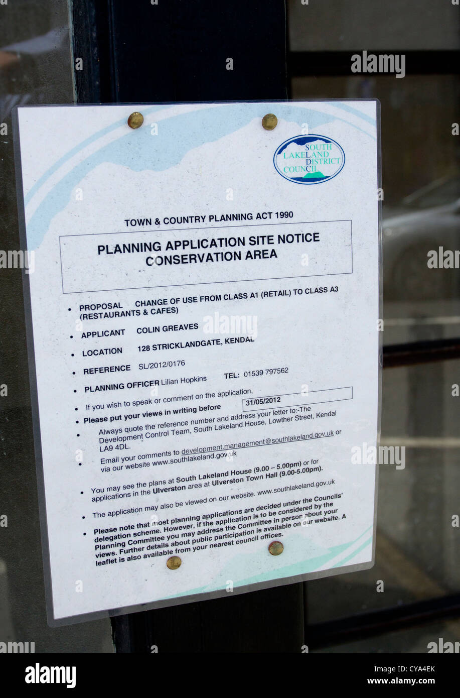 Planning Application site notice Conservation Area sign in shop window requesting change of use - Stock Image