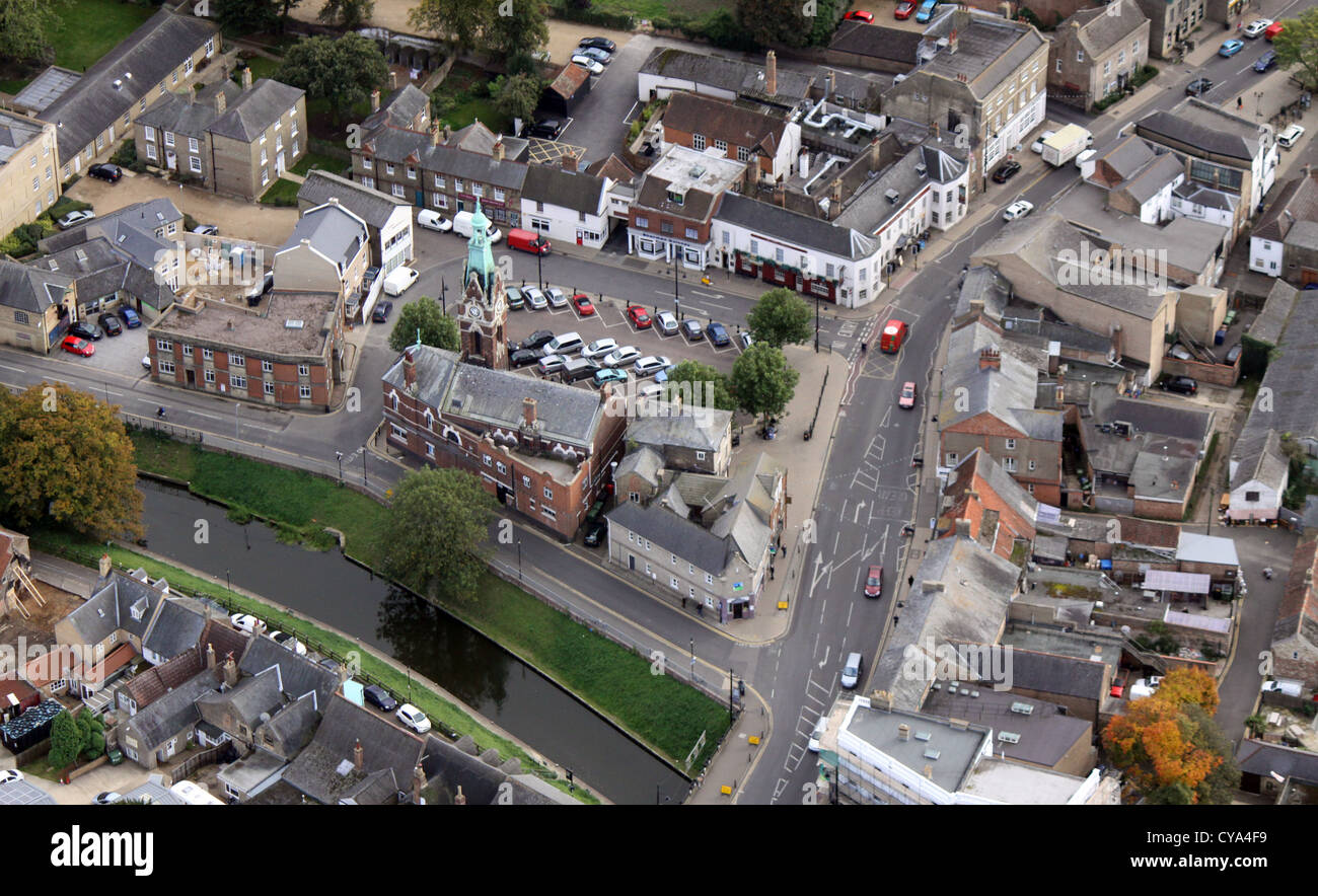 aerial view of the town of March in Cambridgeshire - Stock Image