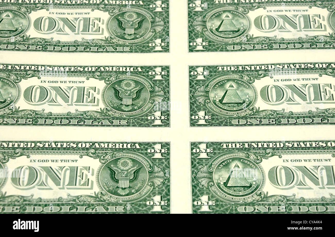 USA Uncut One 1 Dollar Bank Notes - Stock Image