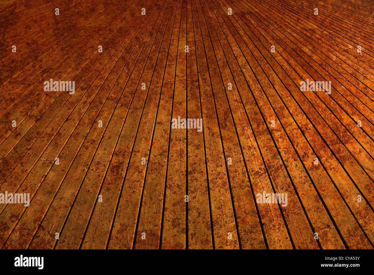 Wooden planks in spots. - Stock Image