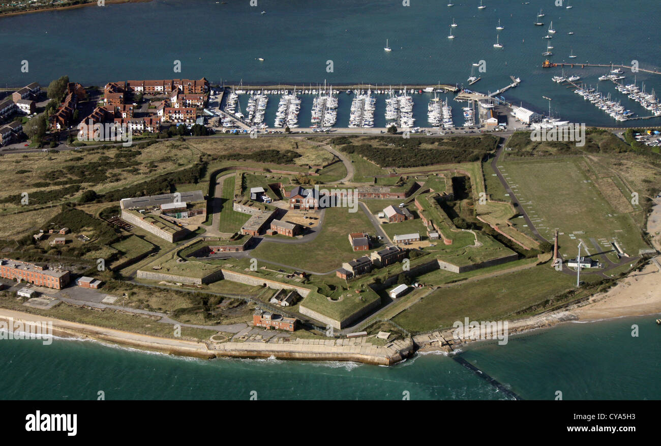 aerial view of Fort Cumberland at Langstone Harbour, near Southsea Beach, Portsmouth - Stock Image