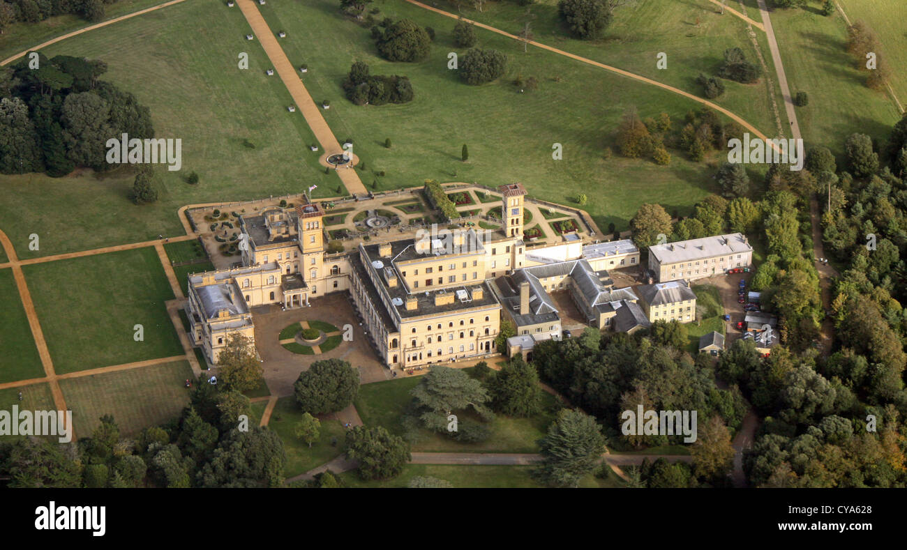 aerial view of Osborne House on the Isle of Wight - Stock Image