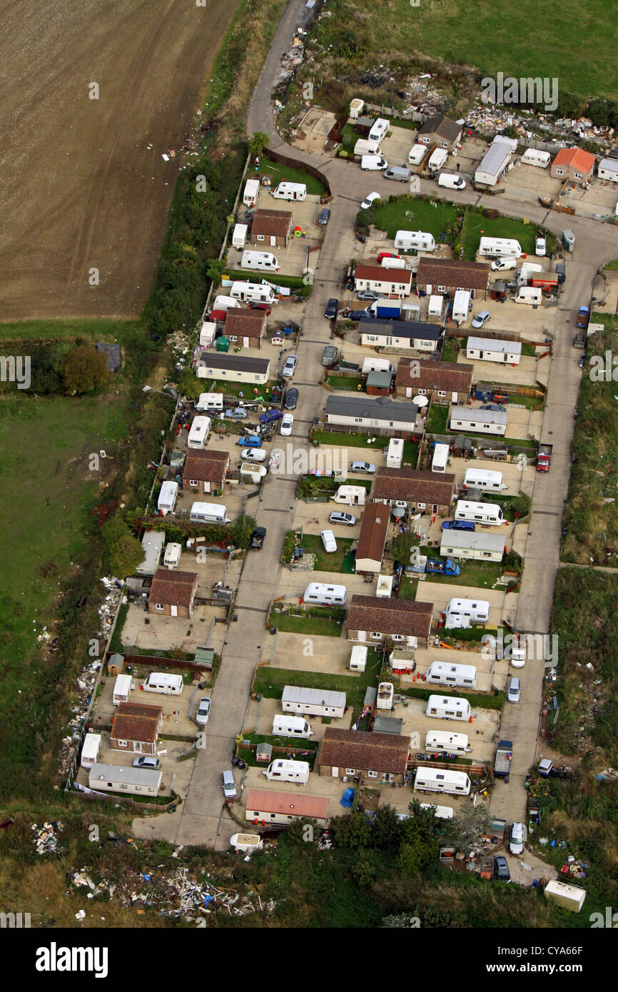 aerial view of a gypsy traveller caravan site near Peterborough - Stock Image