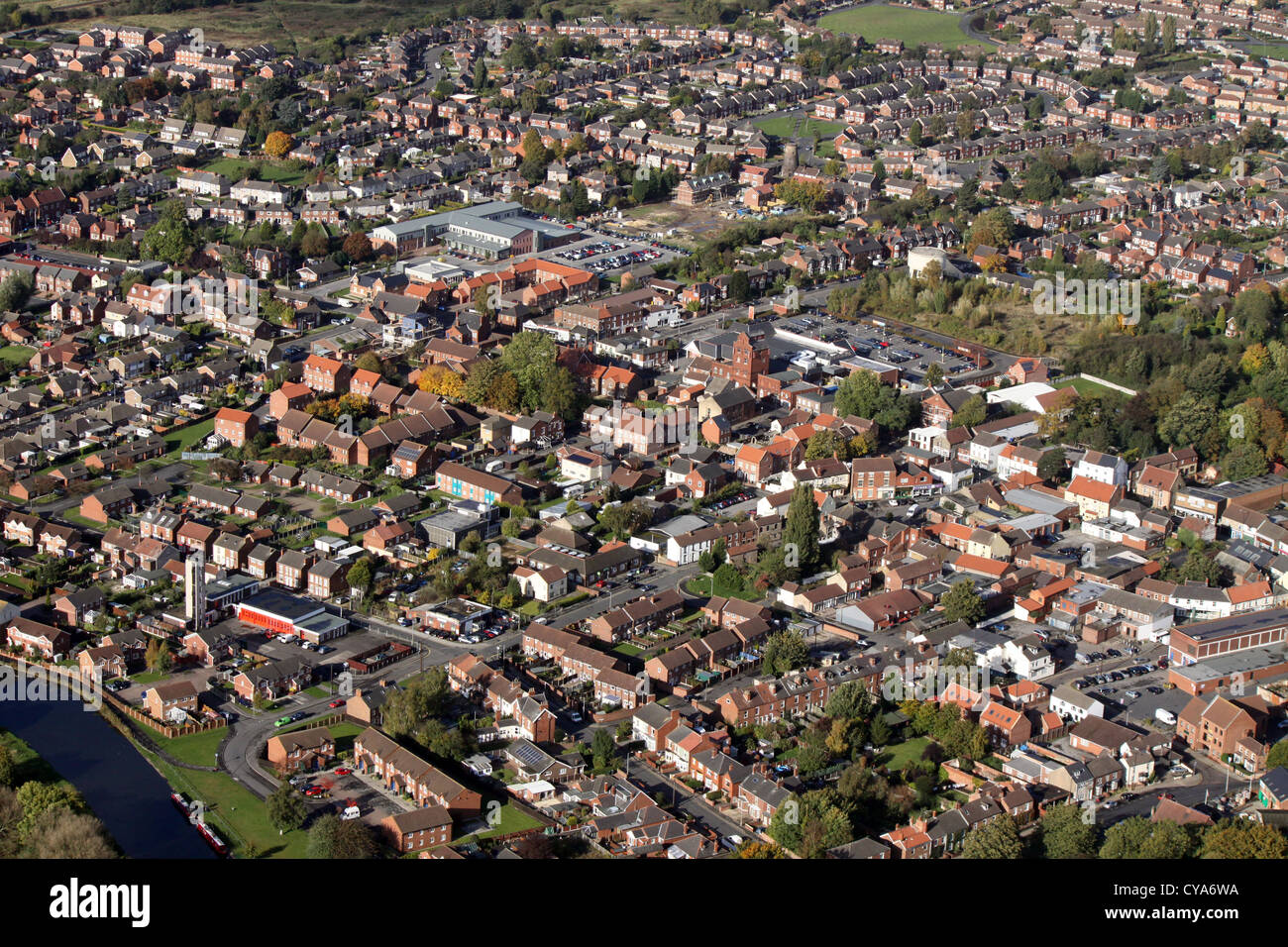 aerial view of Thorne town, Yorkshire Stock Photo