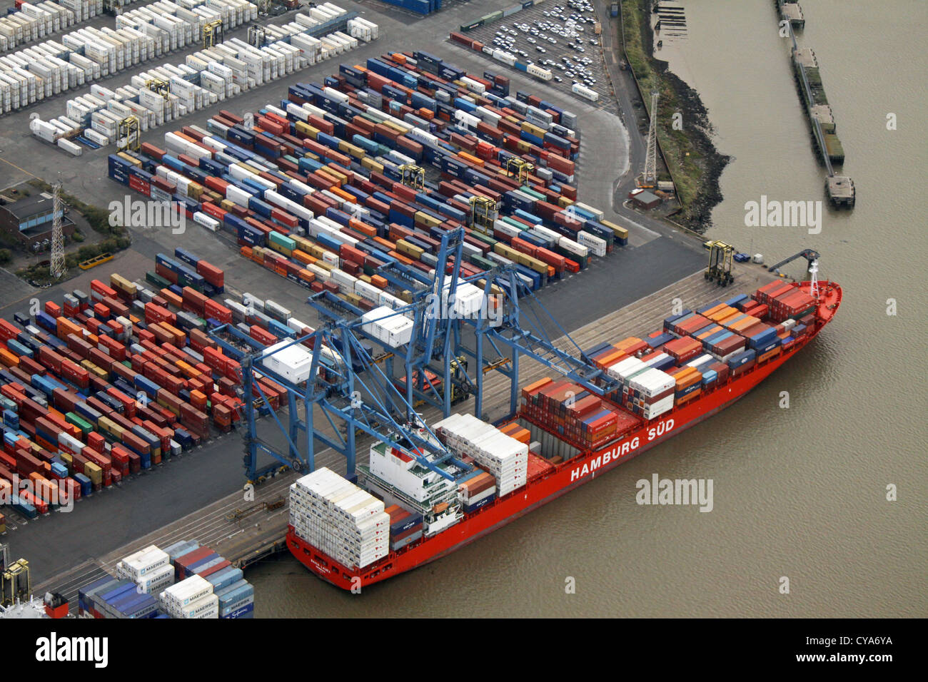 aerial view of a container ship The Hamburg Sud at Tilbury Docks, Essex, UK - Stock Image