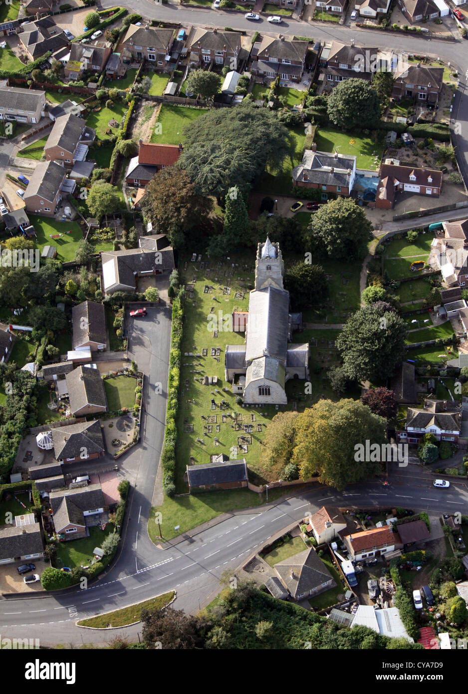 aerial view of the Church St Peter in West Lynn, Norfolk - Stock Image