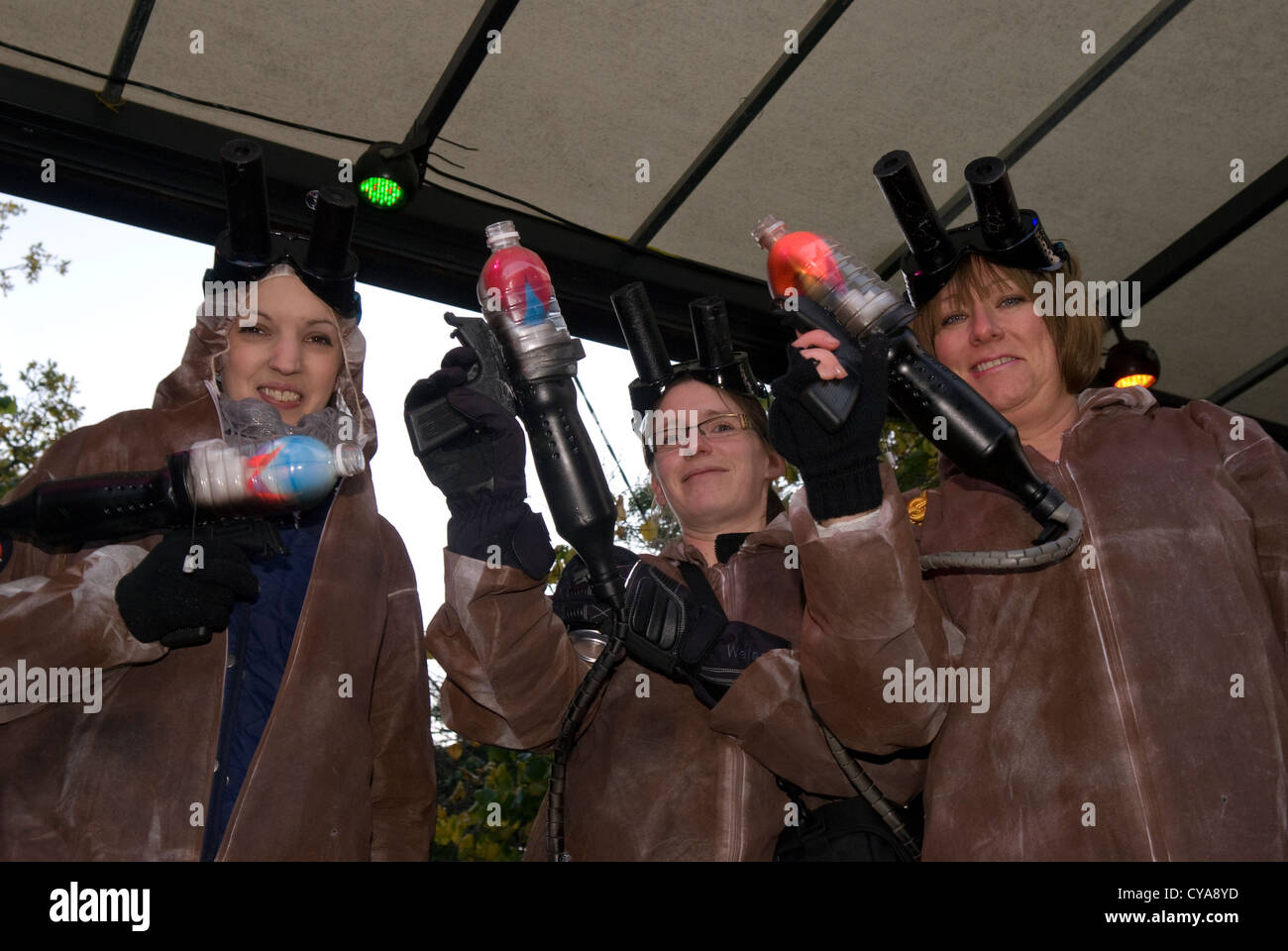 People dressed as Ghostbusters at Liphook Carnival, Liphook, Hampshire, UK. 27.10.2012. - Stock Image