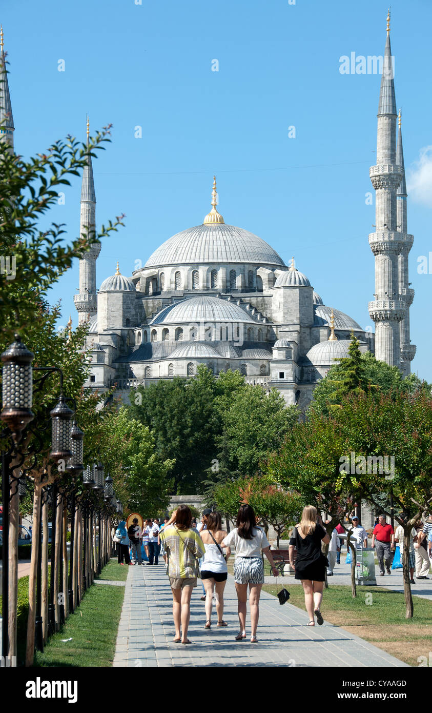 ISTANBUL, TURKEY. A view of the Blue Mosque from Sultanahmet Meydani. 2012. - Stock Image