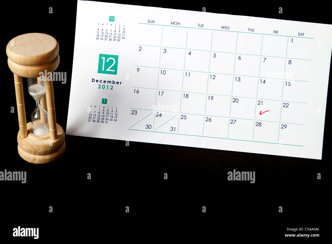 Calendar marked on December 21st 2012 the Mayan Judgment Day with a sand timer Stock Photo