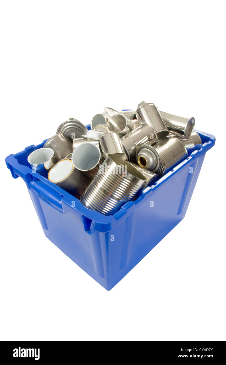 Blue box full of tin cans for recycling - Stock Image