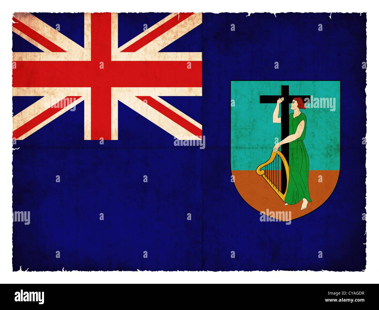 Flag of Monserrat (Britisches Überseegebiet) created in grunge style - Stock Image