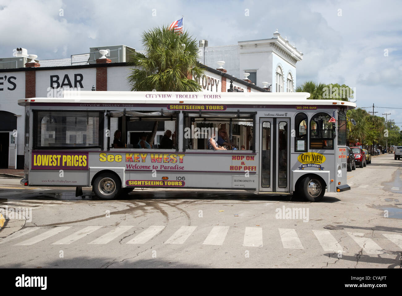 key west trolley tours sightseeing tours florida usa - Stock Image
