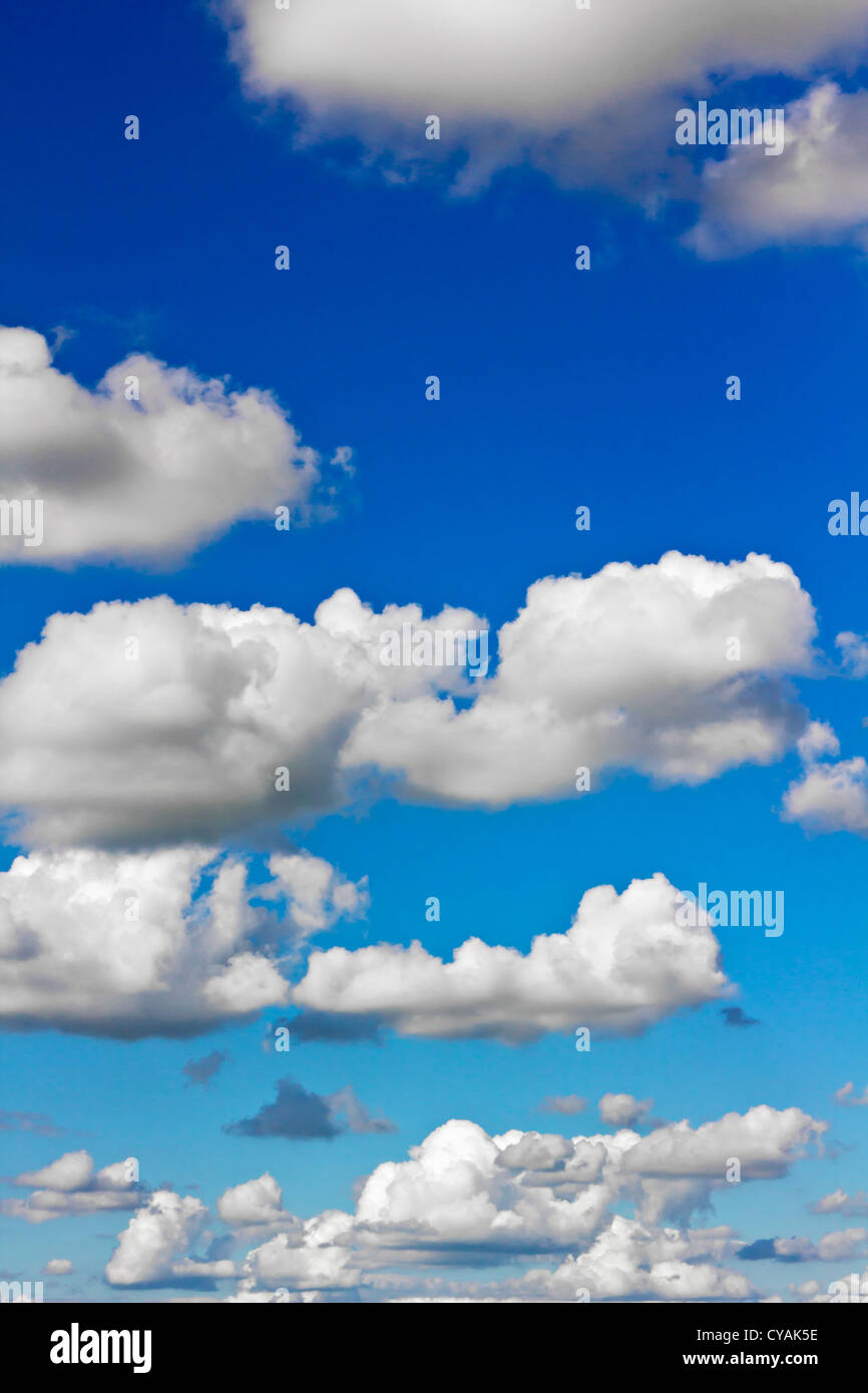 Beautiful Sky scape with fluffy clouds, vertical shot - Stock Image