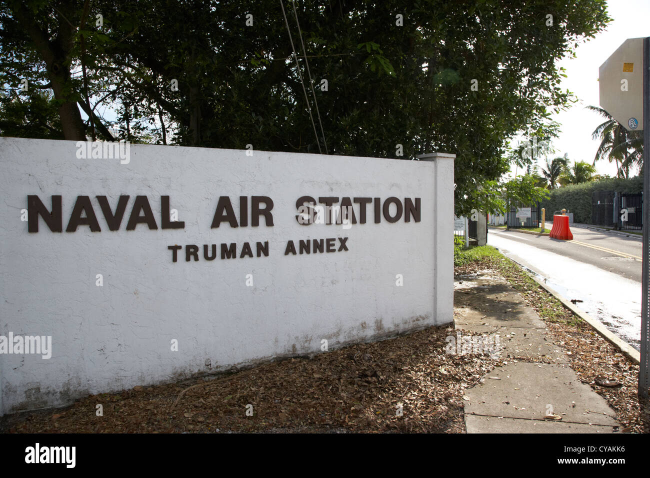 entrance to naval air station truman annex key west florida usa - Stock Image