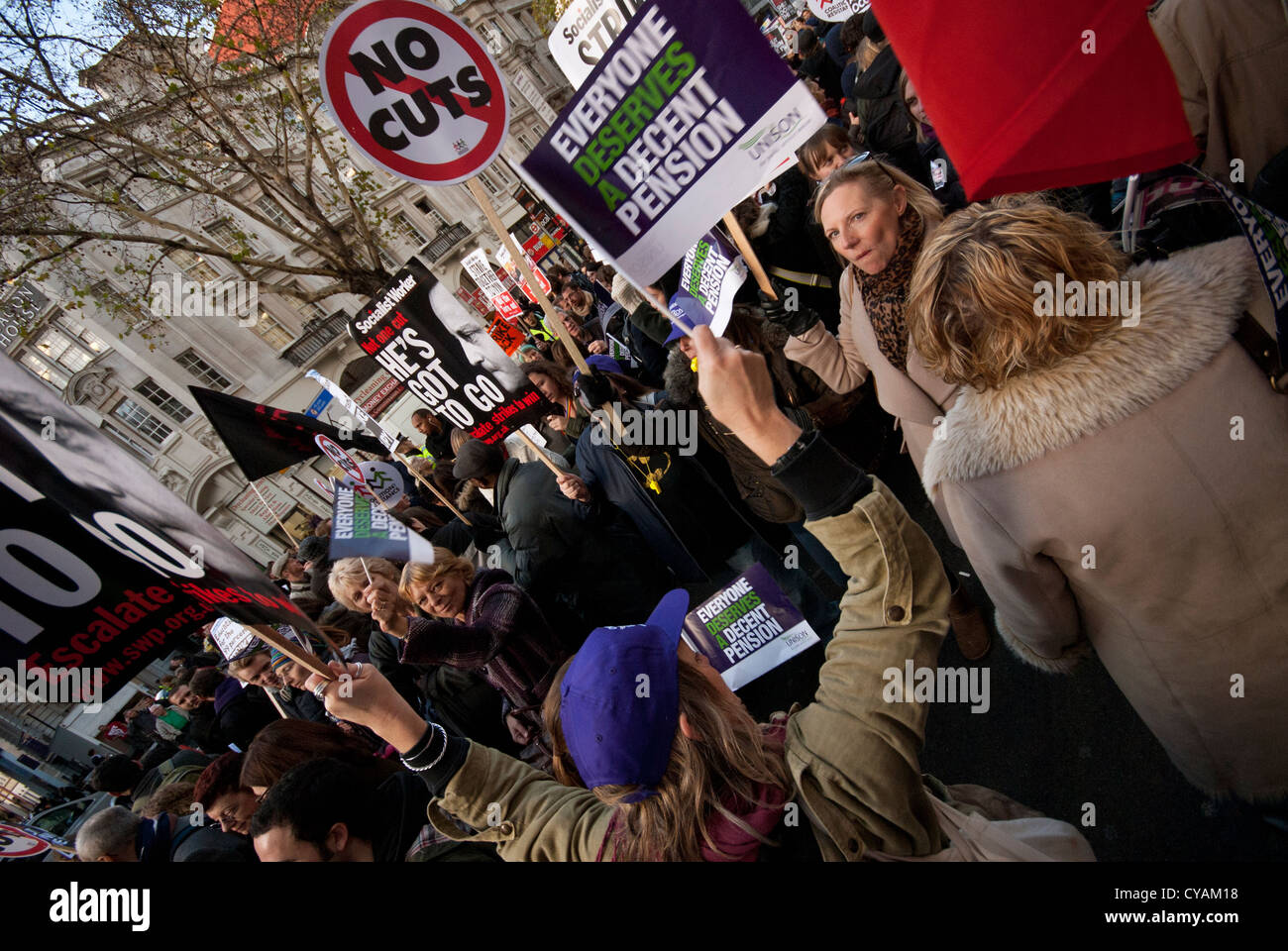 London national demonstration on student fees - Stock Image