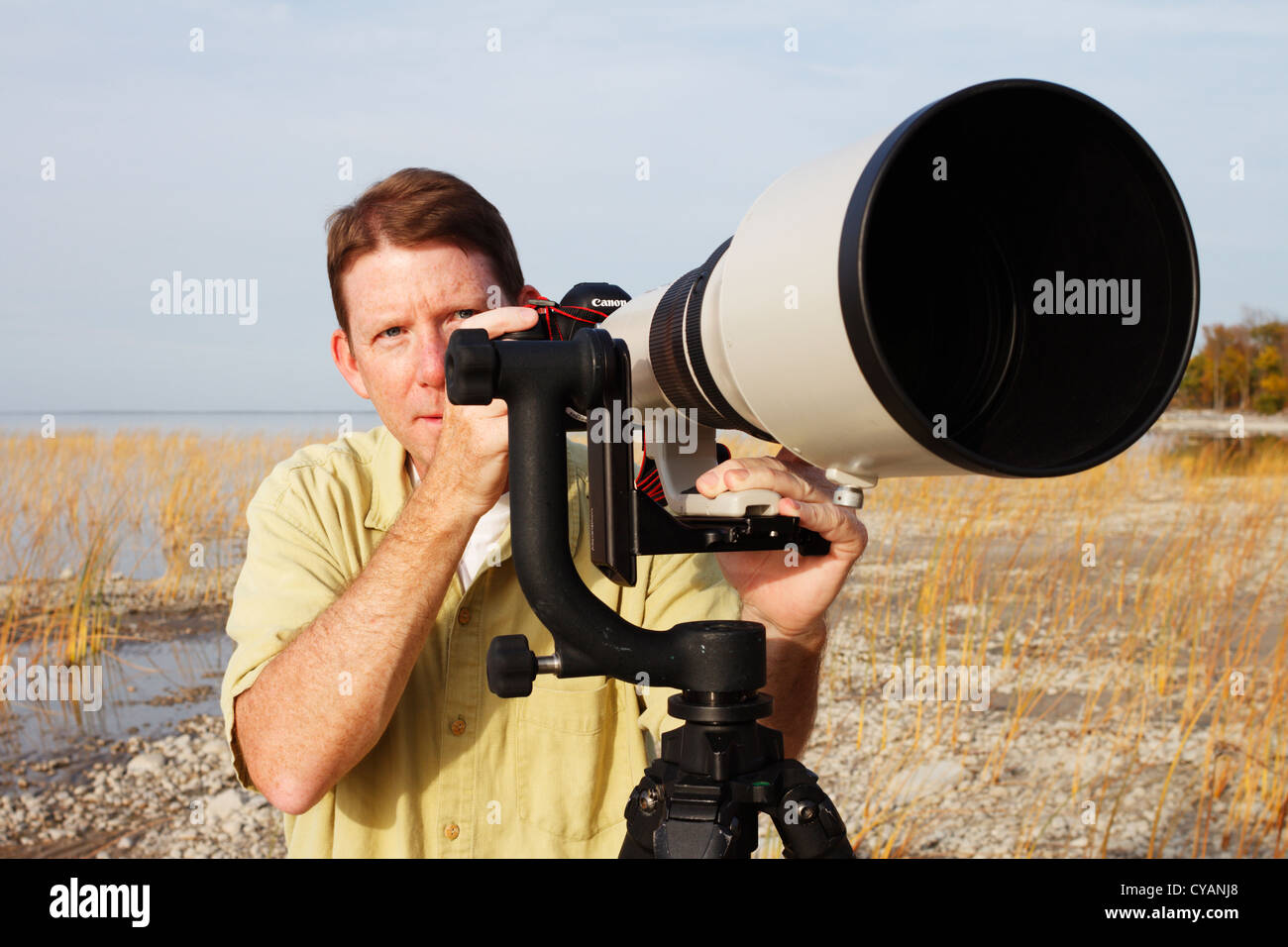 Professional photographer with a super telephoto lens mounted on a gimbal head and tripod. - Stock Image