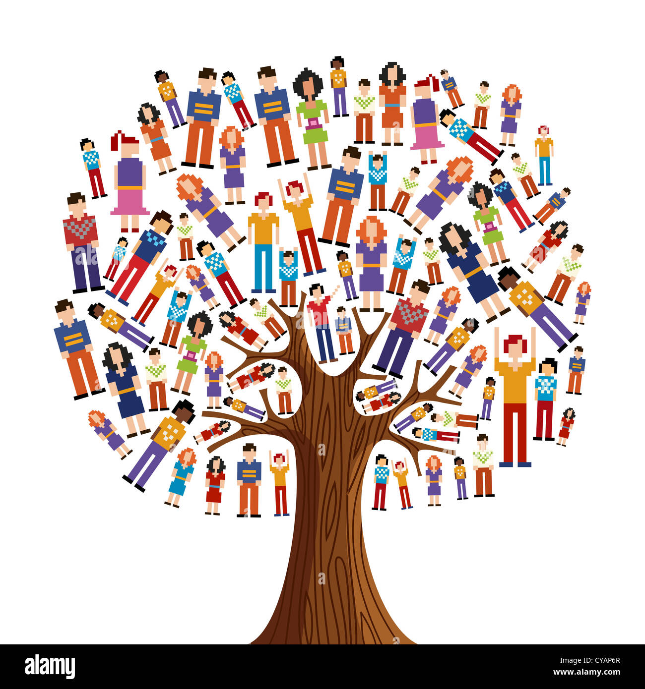 Isolated diversity tree with pixelated people illustration. Vector file layered for easy manipulation and custom - Stock Image