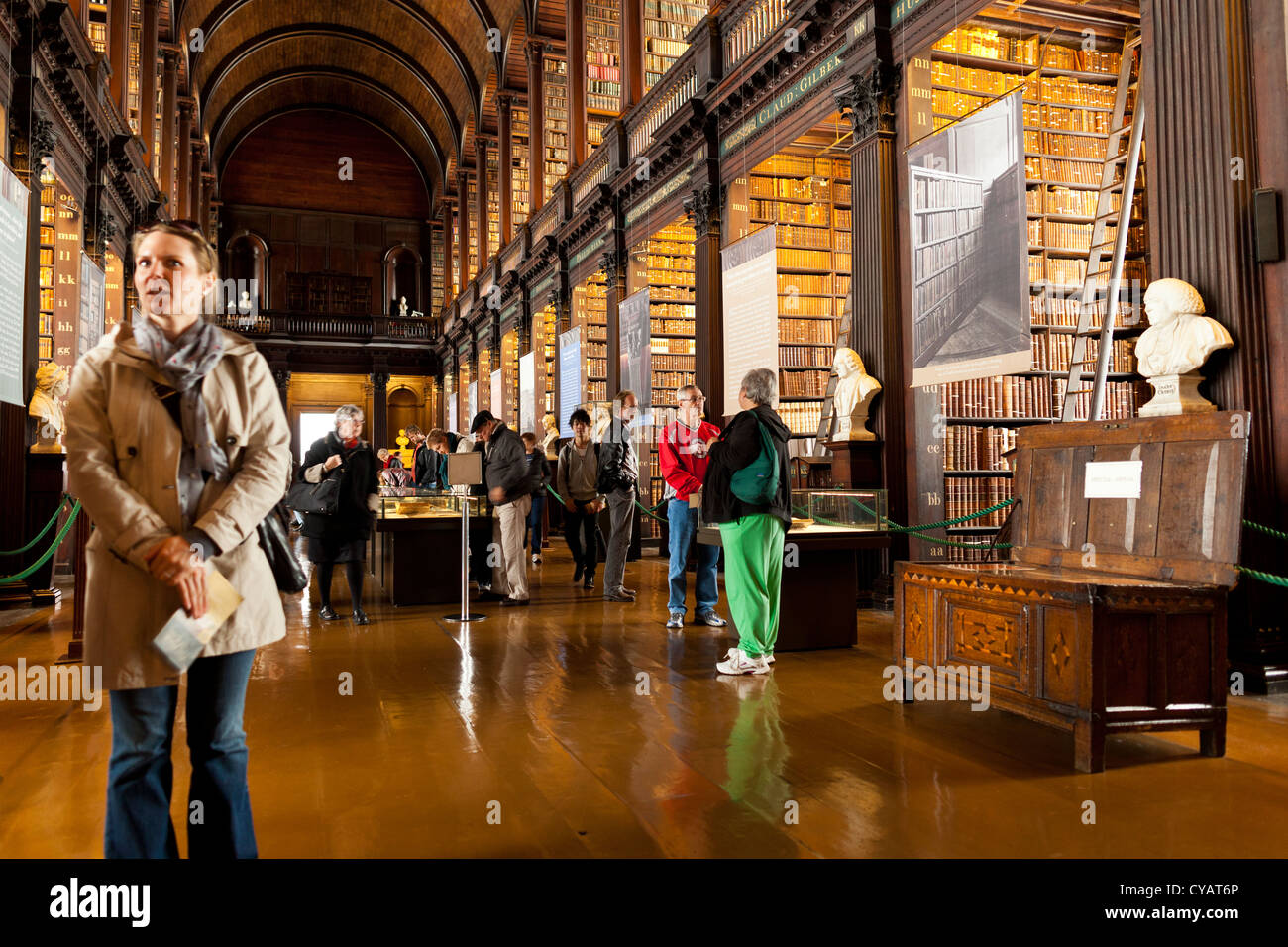 The long room in Trinity College, Dublin, where the book of Kells is kept along with over 200,000 other ancient - Stock Image