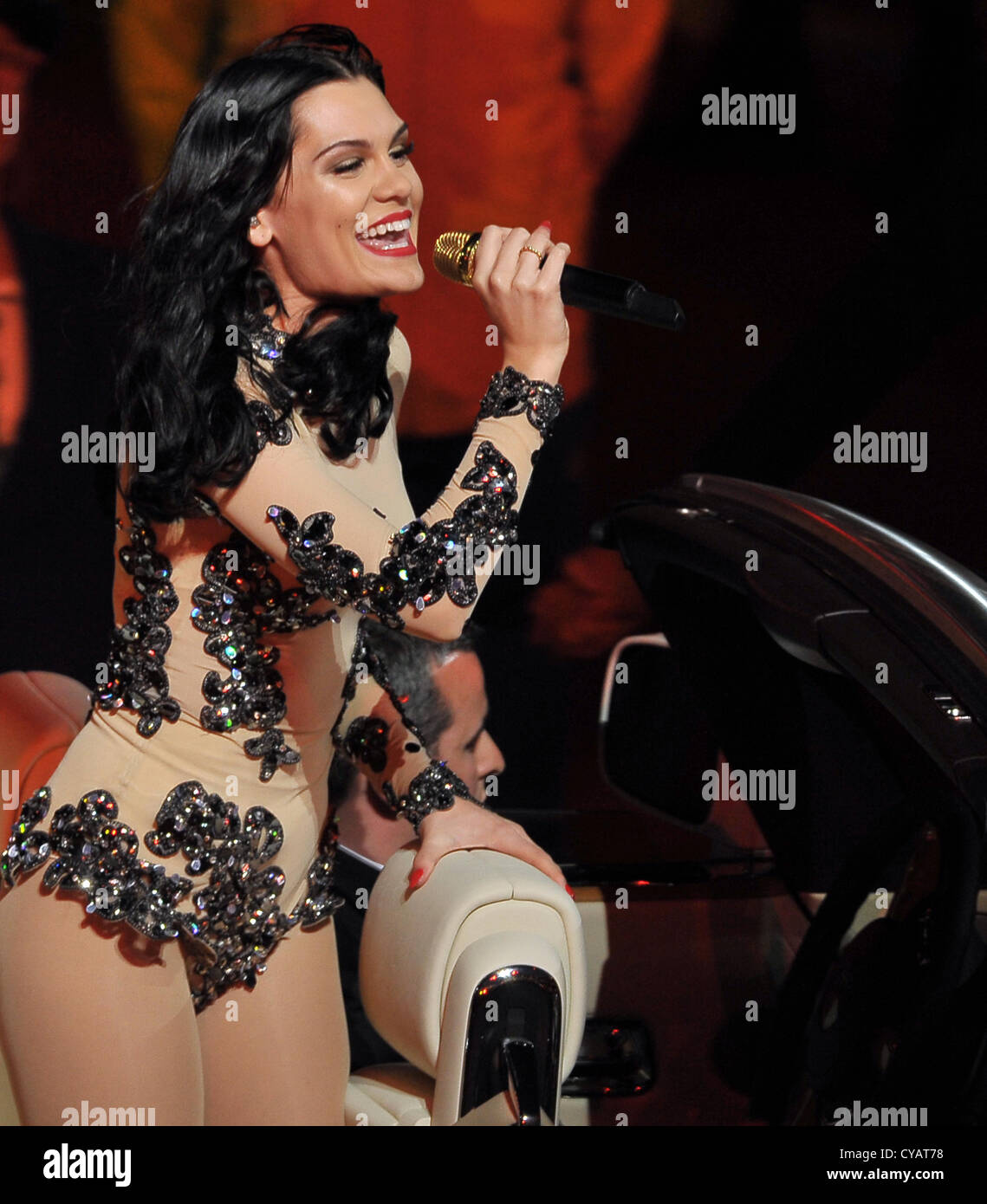 Jessie J performs at the London 2012 Olympic closing ceremony - Stock Image