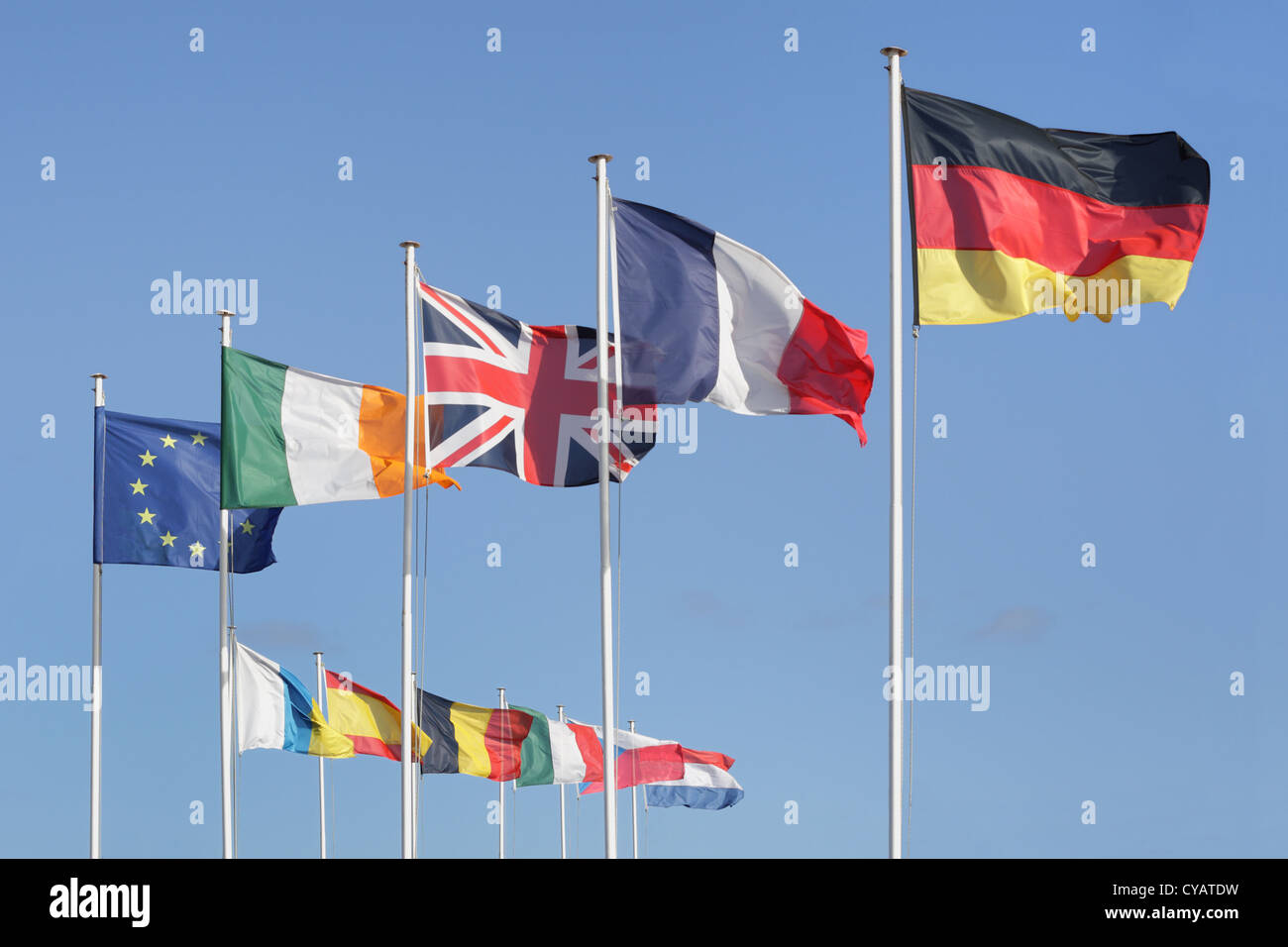 European europe EU flag with member states national flags - Stock Image