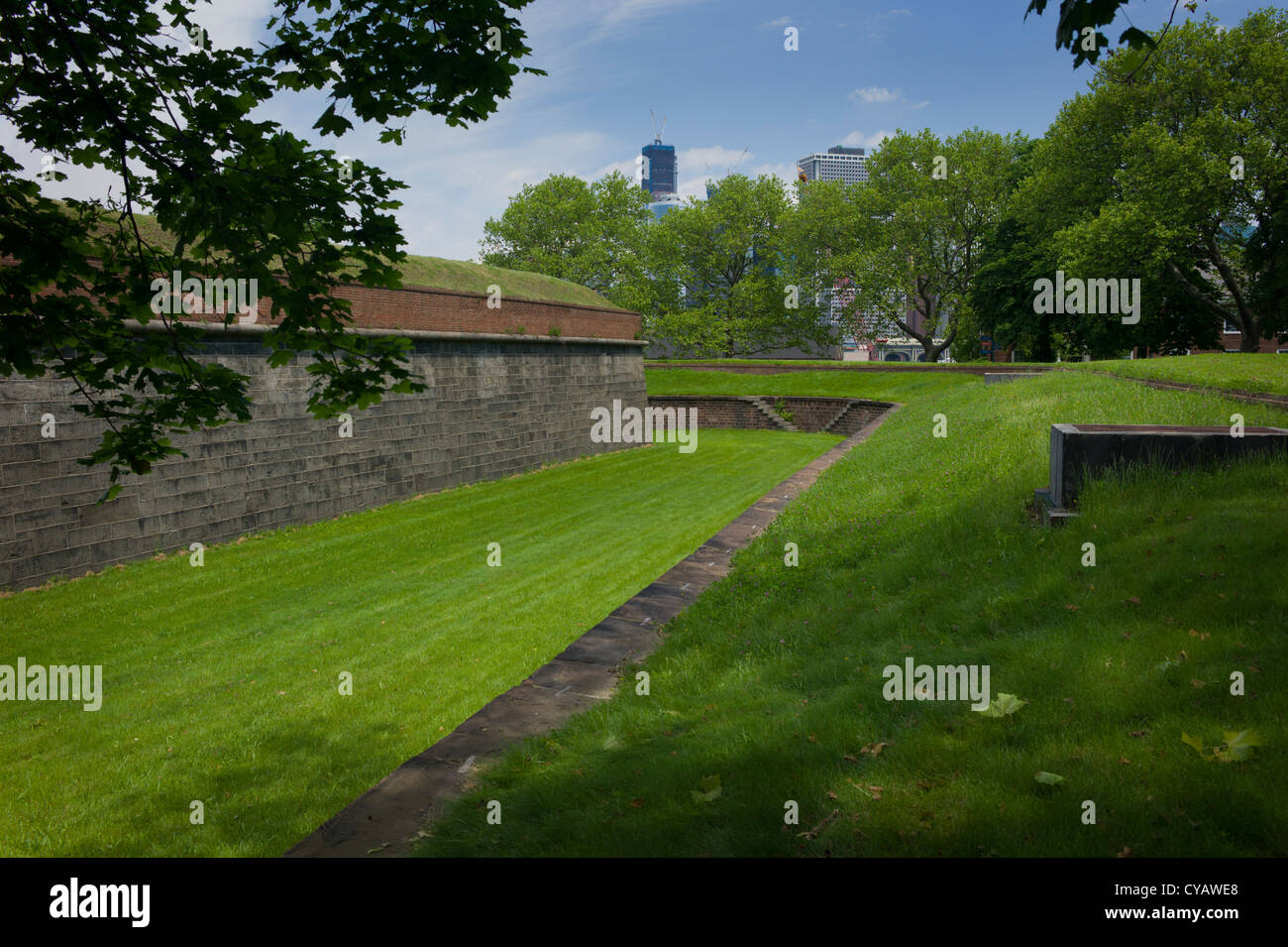 FORTIFICATIONS GOVERNOR'S ISLAND NEW YORK CITY - Stock Image