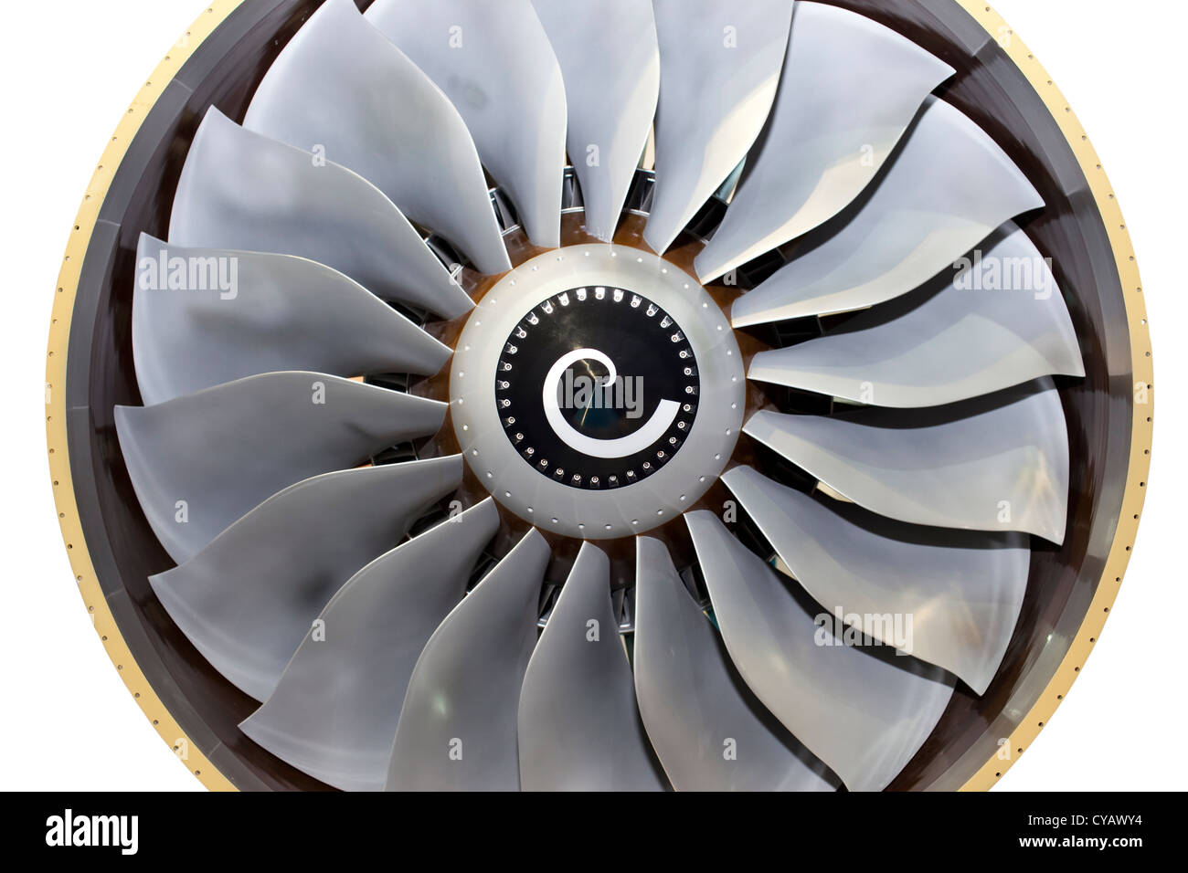 Close-up of a turbofan jet engine of a airplane - Stock Image